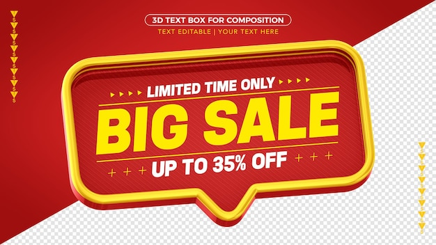 Mega sale red and yellow 3d box with up to 35% discount