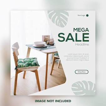 Mega sale social media banner post template