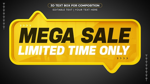 Mega sale yellow d text box for limited time only in 3d rendering