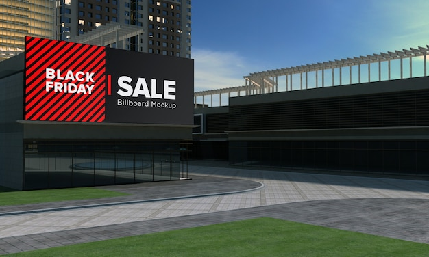 검은 금요일 판매 배너가있는 쇼핑 센터 벽 모형에 메가 사인 보드