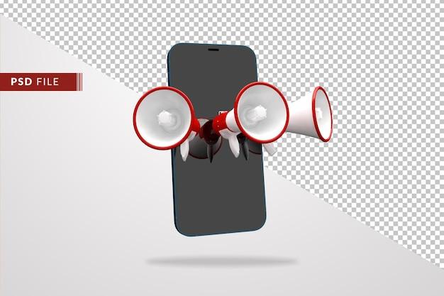 メガホンとスマートフォンのデジタルマーケティング3d