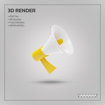 Megaphone announce yellow realistic 3d rendering isolated