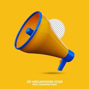 Мегафон значок 3d визуализации изолированные