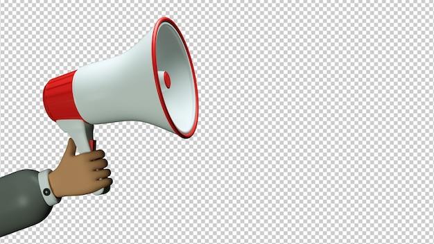 Мегафон в мультяшной руке, изолированных в 3d иллюстрации