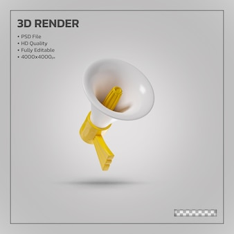 Megaphone and loudspeaker yellow realistic 3d rendering isolated
