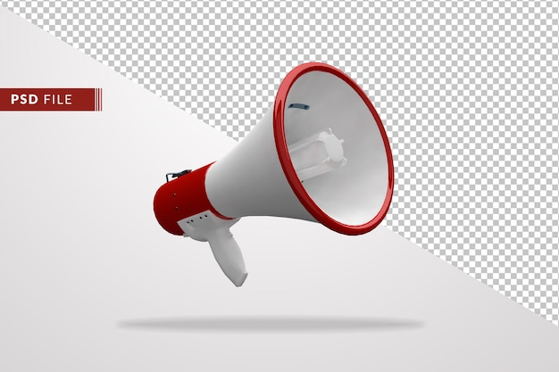Megaphone red and white color a 3d isolated