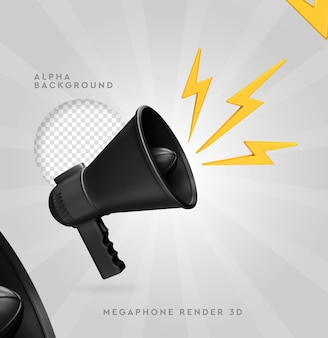 Megaphone scene creator 3d rendering isolated