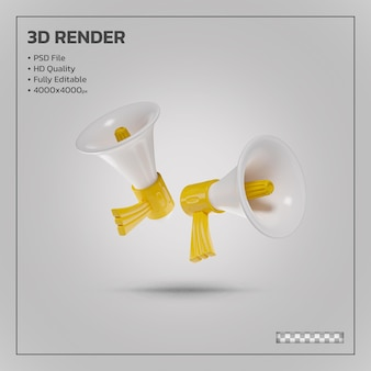 Megaphone scene creator yellow realistic 3d rendering isolated