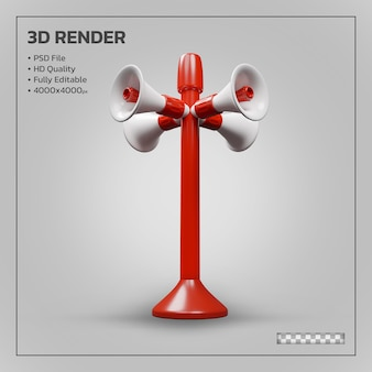 Megaphone tower realistic isolated 3d render
