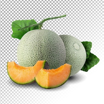 Melon whole and slice cut with leaf