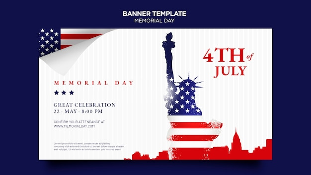 Memorial day banner template with flag