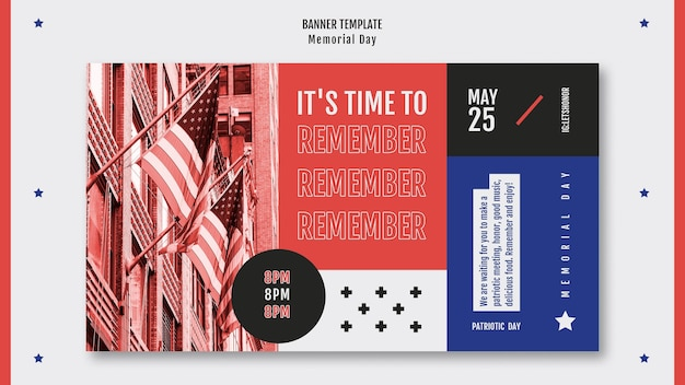 Memorial day banner template