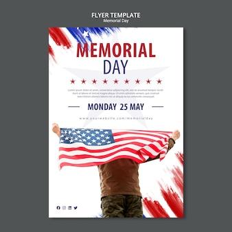 Memorial day concept flyer template