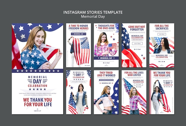 Memorial day concept instagram stories template