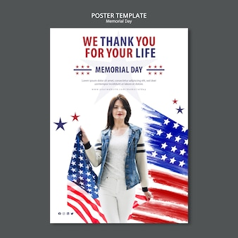 Memorial day concept poster template
