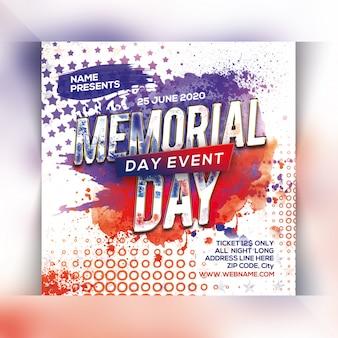 Memorial day flyer template