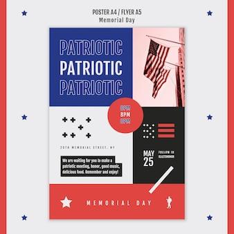 Modello del manifesto di memorial day