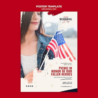 Modello di poster del memorial day