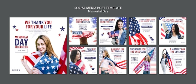 Memorial day social media post concept template