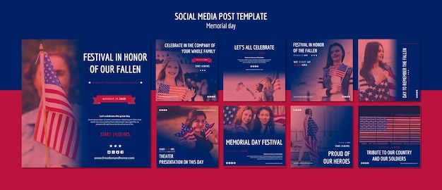 Post sui social media del memorial day