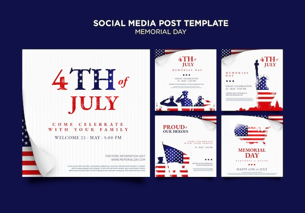 Memorial day social media posts with flag