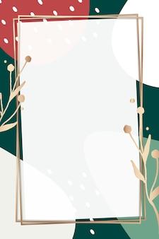 Memphis cornice dorata psd con foglie metalliche nei colori natalizi