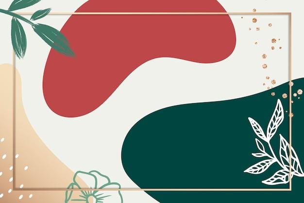 Мемфис psd ботаническая рамка с зеленым и красным цветом