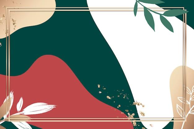 Мемфис psd золотая рамка с зеленым и красным