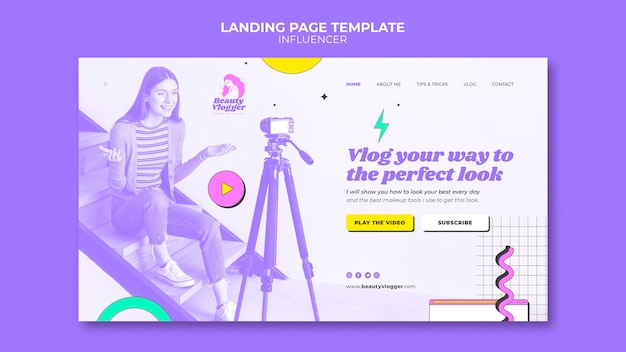 Memphis style influencer landing page