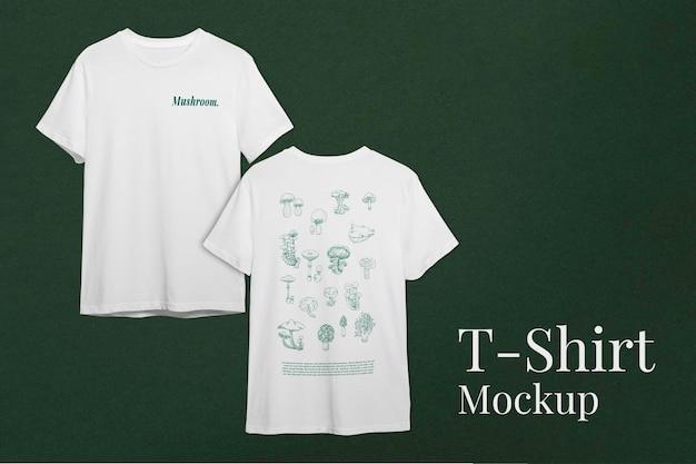 버섯 로고 의류가 있는 남성용 티셔츠 모형 psd