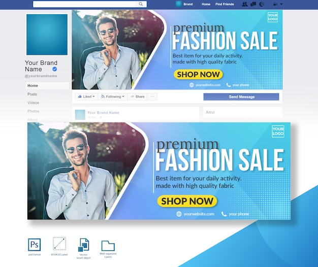 Men fashion sale offer facebook cover design template
