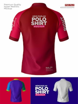 男性ラグランポロシャツバックモックアップ Premium Psd
