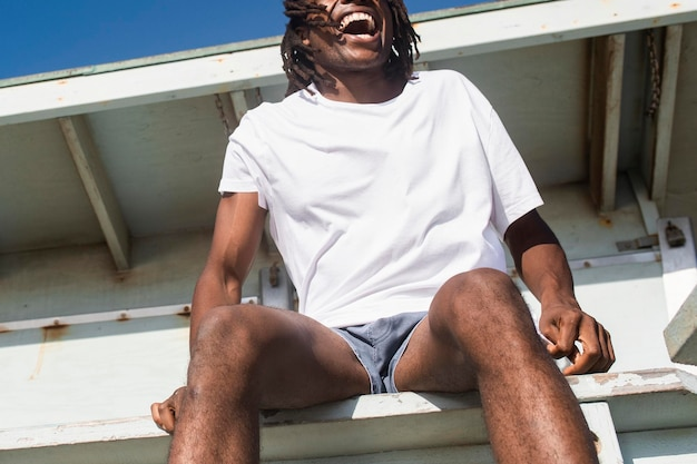 Men's white tee psd mockup basic summer apparel photoshoot