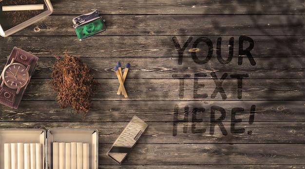 Мужские аксессуары макет табак и зажигалка на деревянном столе