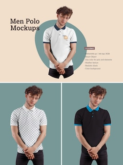 Men's polo mockups. design is easy in customizing images design and color t-shirt, cuff, button and collar