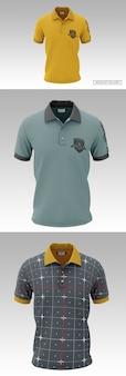 Мокап мужской рубашки поло с коротким рукавом