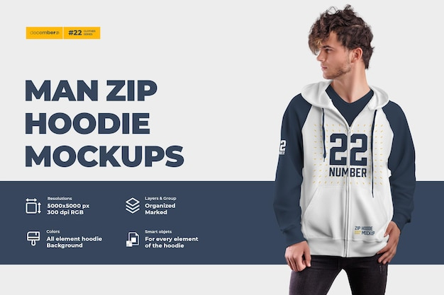 Men's zip hoodie mockups. design is easy in customizing images design hoodie (torso, hood, sleeve, pocket), color of all elements hoodie, heather texture Premium Psd