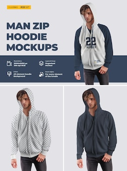 Men's zip hoodie mockups. design is easy in customizing images design hoodie (torso, hood, sleeve, pocket), color of all elements hoodie, heather texture.