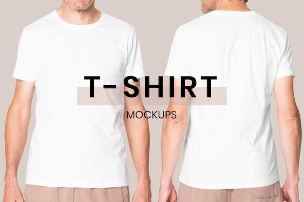 의류에 대한 남성 흰색 티셔츠 psd 모형