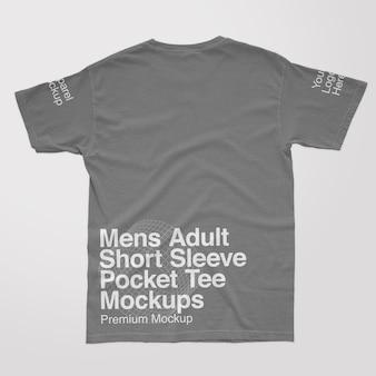 Mens adult short sleeve pocket back tee mockups