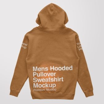 Mens hooded pullover back sweatshirt mockup