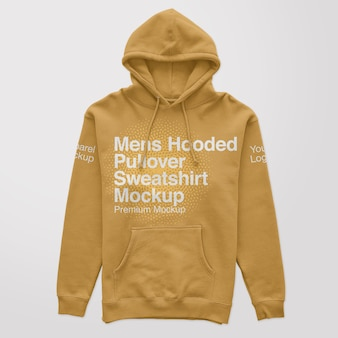 Mens hooded pullover sweatshirt mockup