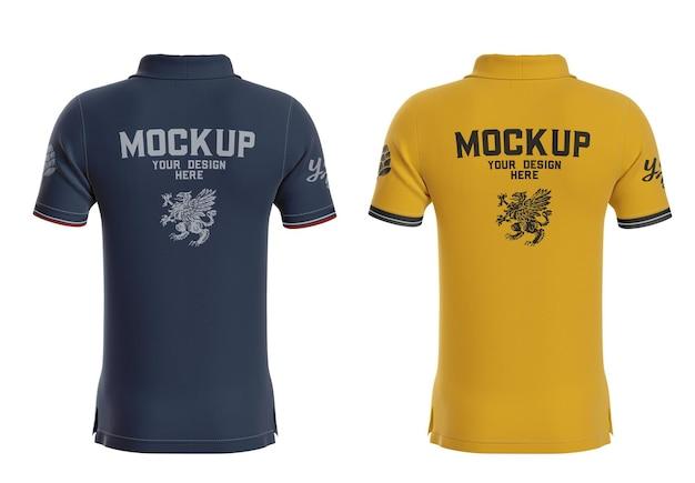 Mens short sleeve polo shirt mockup back side