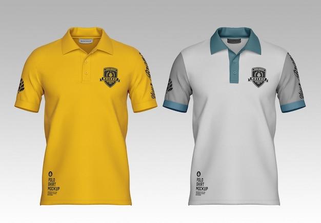 Mens short sleeve polo shirt mockup front side