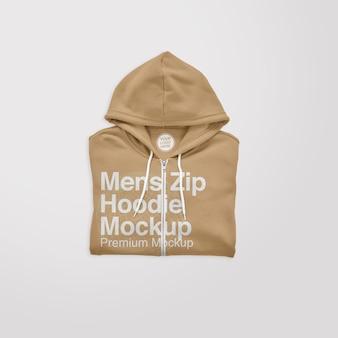 Mockup con cappuccio ripiegato con zip da uomo