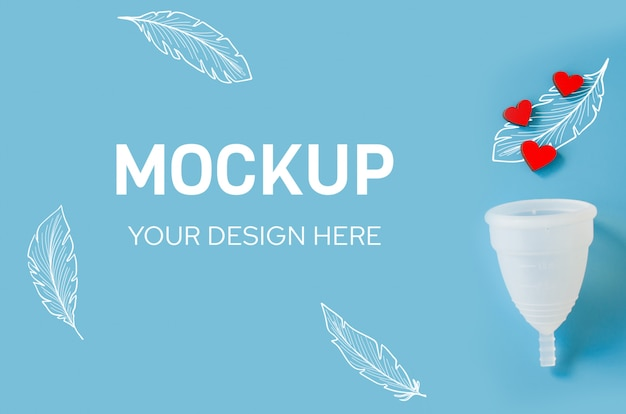Menstrual cup. detail of object of intimate hygiene of woman. mockup.