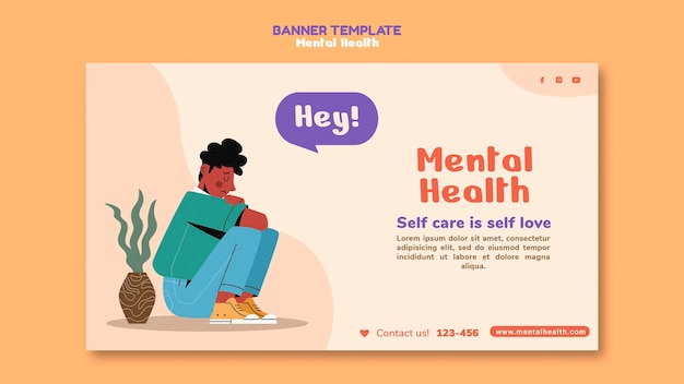 Mental health horizontal banner template