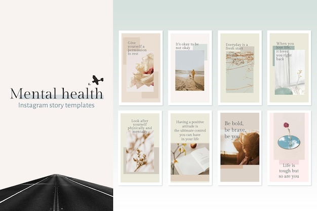Mental health template psd set quote for social media post