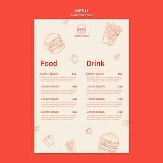 Menu per ristorante di hamburger