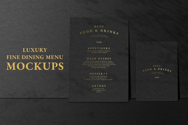Menu card psd mockup ad in black luxury style for restaurants
